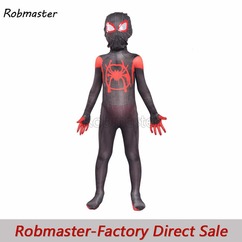 Kids Spiderman In De Spider-Vers Miles Morales Cosplay Kostuum Spiderman Zentai Bodysuit Jumpsuits Voor Kids Halloween