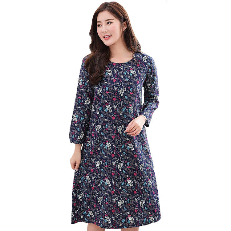 Long Sleeve Female Nightgown Floral Sleepwear Elegant Casual Sleep Shirt  Women Nightwear Cotton Home Clothes Intimate 174935e90