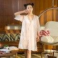 A100Hot Продажа Лето 2017 весной и летом новый сексуальные кружева платье три комплекта груди коврик с сладкий пижамы обслуживание на дому пижамы