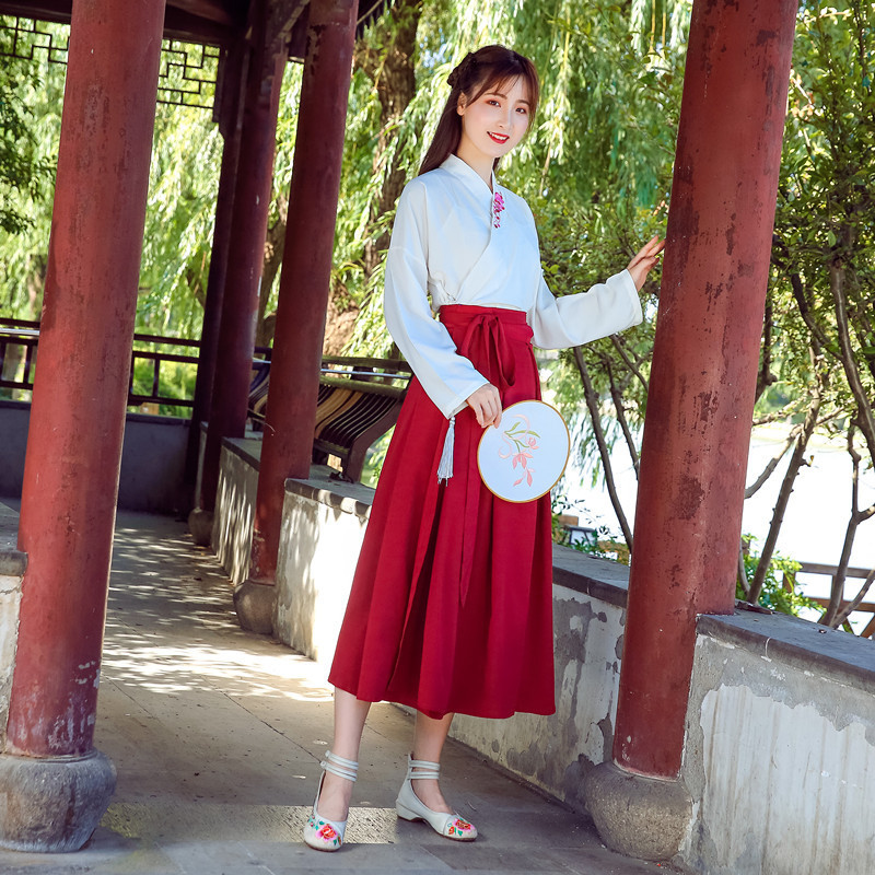 Hanfu Costume Dress Women Improved Hanfu Daily Short Sleeve Hanfu Embroidered Crossdresses Costumes Han Elements Student Set 21