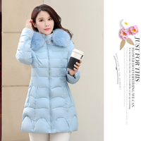 2017 New women jackets 4 colors cotton long sleeves hooded fur collar manteau femme hiver warm ruched Korean women coats