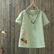 Chinese Style One Button Cotton Linen T Shirt Casual Tops 2018 Vintage Short Sleeve Dragonfly Bird Floral Tee Shirt Women Summer(China)