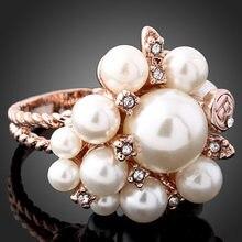 Oferta especial, venta al por mayor, camiseta nueva calidad, cuentas de perlas de diamantes de imitación, anillos llamativos, joyería, regalo para mujer 825