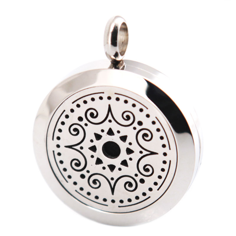 New Design 25mm Aromatherapy Essential Oils Stainless Steel Necklace Pendant Perfume Diffuser Locket free 10pcs Felt Pads