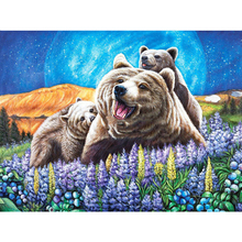 5D DIY Diamond painting Bear in the flowers Full square/Round embroidery Cross Stitch Rhinestone Mosaic decor NX