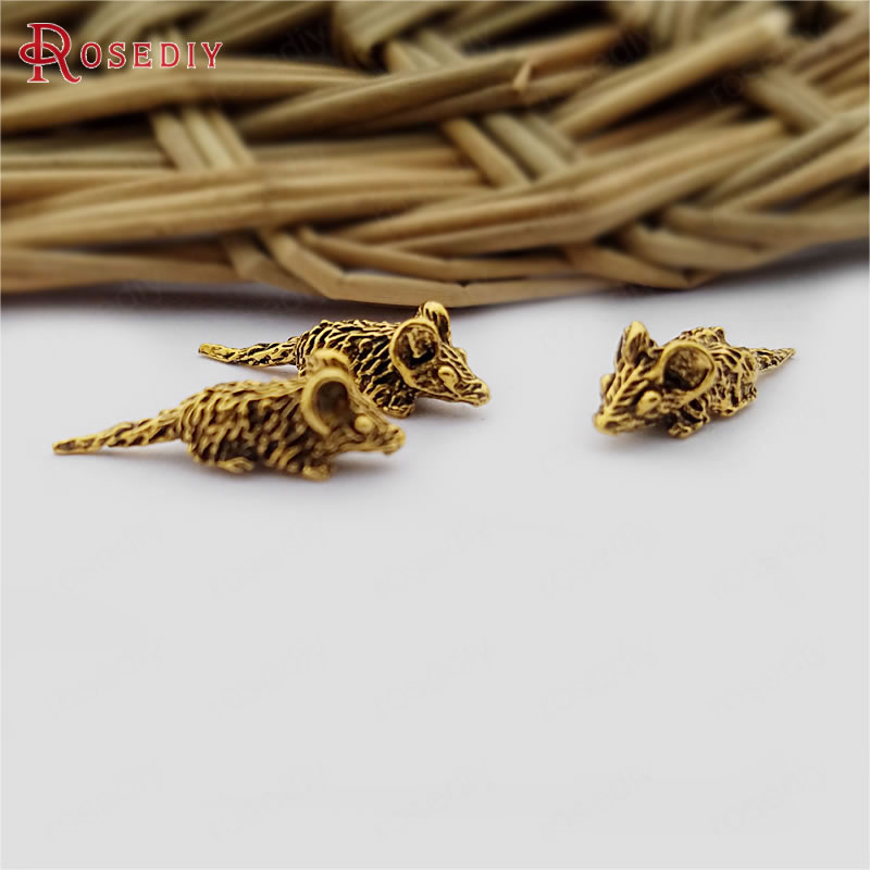 (30395)50PCS 17x5MM Antique Gold Zinc Alloy No Hole Small Mouse Diy Jewelry Findings Accessories Wholesale