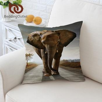 BeddingOutlet 3d Elephant Cushion Cover Indian Pillow Case Home Decor Animal Throw Cover Kids Decorative Pillow Cover 45x45cm african elephant