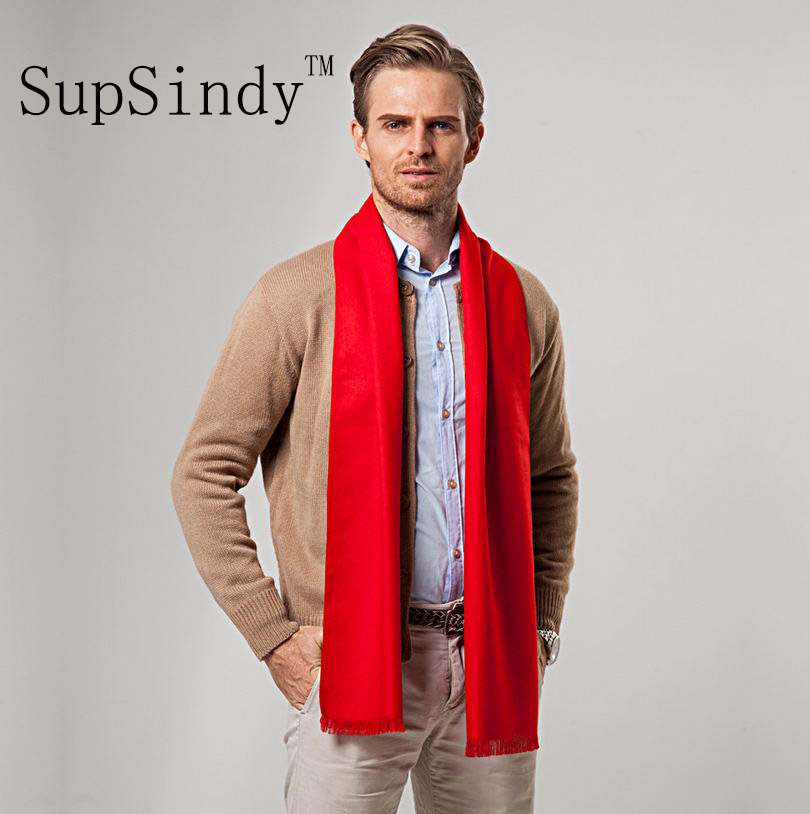European style Luxury men's   scarf   Red business casual thick wool   scarves   imitation cashmere   scarves     Wrap   Warm brushed men 180cm