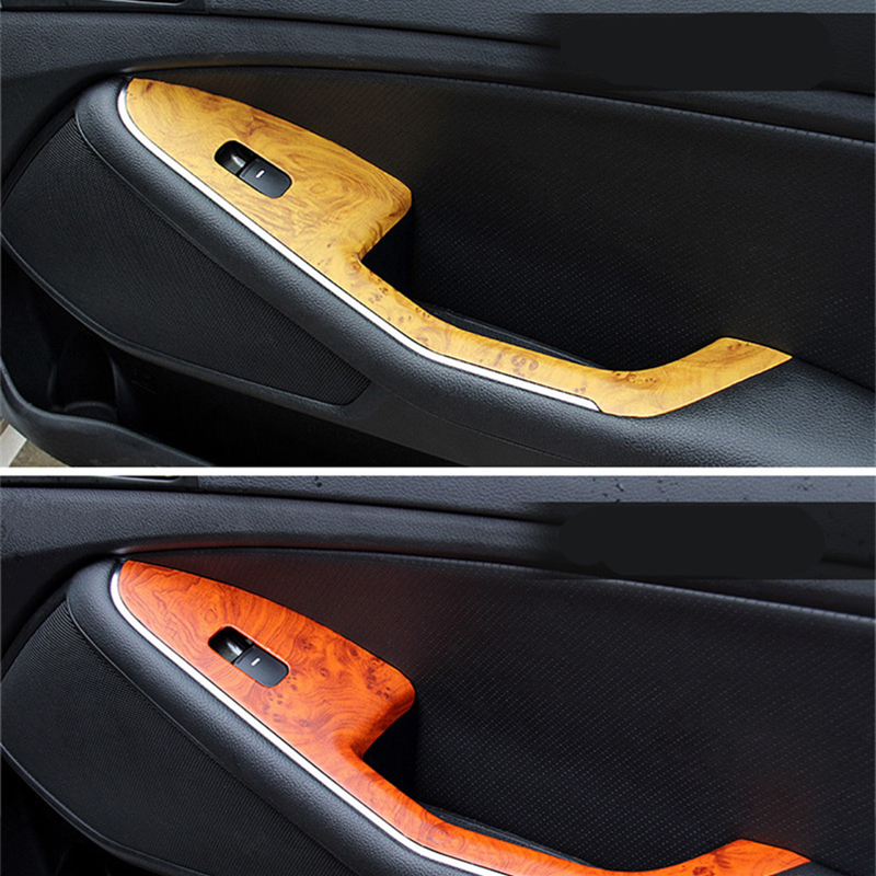 152x30CM Car-Styling Wood Grain Interior Decorative Ice Film Waterproof not Easy to Fade Sticker for Car Center Console Computer