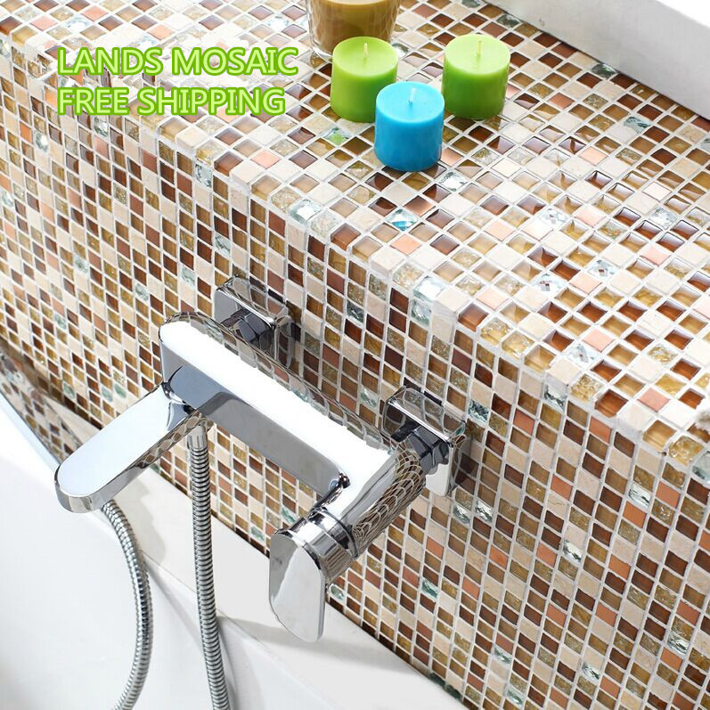 Shiny Glass Marble mosaic tile art design Marble stone mosaic tiles Bathroom wall TV/Kitchen backsplash countertop decor,LSTC003 rose gold stainless steel metal mosaic glass tile kitchen backsplash bathroom background decorative art mosaic wall tile sa073 9