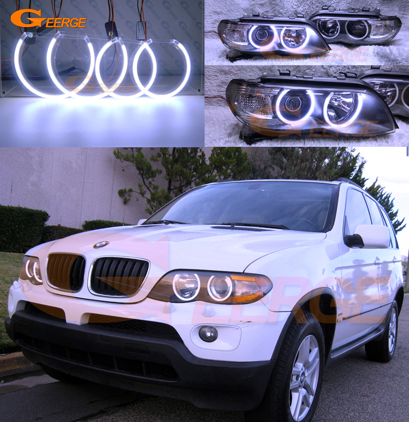For BMW X5 E53 2004 2005 2006 Excellent Ultra bright illumination COB led angel eyes kit halo rings super bright led angel eyes for bmw x5 2000 to 2006 color shift headlight halo angel demon eyes rings kit