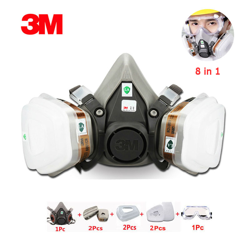 3M 6200 Gas Mask Respirator 8 In 1 Suit Protective Organic Gas Industrial Spray Paint Protection With PC Glasses Protective Mask