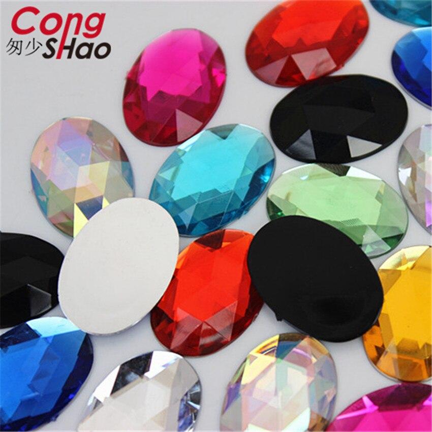 Купить с кэшбэком Cong Shao 100PCS 18*25mm Oval Shape Acrylic Rhinestones Flatback Stones And Crystals For Costume Crafts DIY Decoration YB137