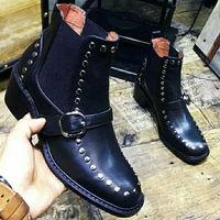 Ботинки «Челси» с металлическими заклепками, ботильоны с пряжкой, обувь на массивном каблуке, женские роскошные армейские ботинки с квадра