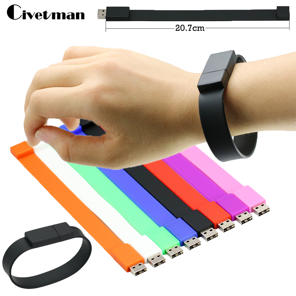 Usb-flash Colorful Silicone Bracelet Wrist Band 4GB 8GB 16GB 32GB 64GB USB Flash Drive Pen Drive Memory Stick Disk Pendrives