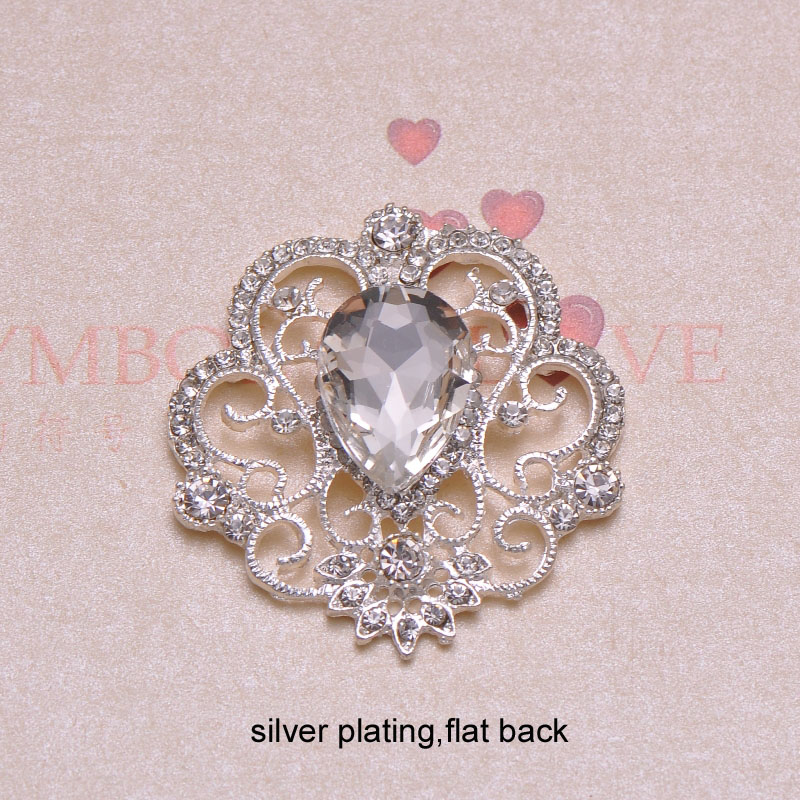 J0343 40mmX42mm rhinestone button flat back silver or light gold or nickle plating 100pcs lot