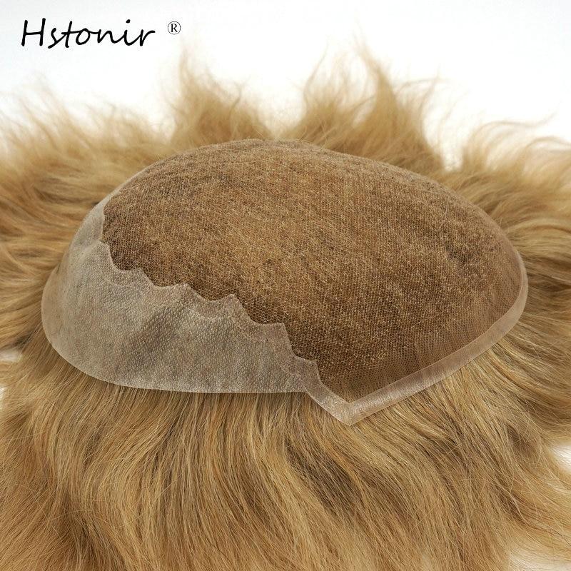 Hstonir תחרה חלק שיער פאת שיער רמי אנושי תחרה שוויצרית עור חזית למעלה פאה גברים למכירה H045