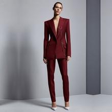 Wine Red Jacket+Pants Womens Business Suits Office Uniform Designs Women Elegant Formal Ladies Trouser Suit 2 Piece Sets Custom