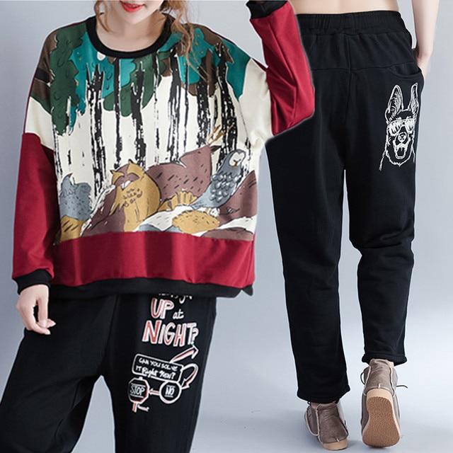 f1a5de958c6 Plus Size 2018 Autumn Winter Fashion Letter Dog Print Pants Women Female  Ladies Big Cotton Fleece