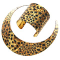 MANILAI Fashion Women Savagery Style Animal Skin Pattern Jewellery Wide Alloy Torques Bracelet Statement Necklace Sets CE4172S
