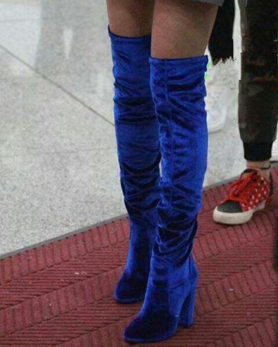 Cuisse genou Botas Femme as Haute Femmes the Chargement Bloc À Bottes Velours 2018 Rihanna Transport Mode Kardashian Rouge jaune Kim Partiel Over Talon vin De Pic As Pic Mujer aZ8YqwS