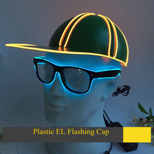 EL Flashing Baseball Cap Plastic Hat for kids Women Men Glow In The Dark Wire Led CAP Luminous Party Decorative