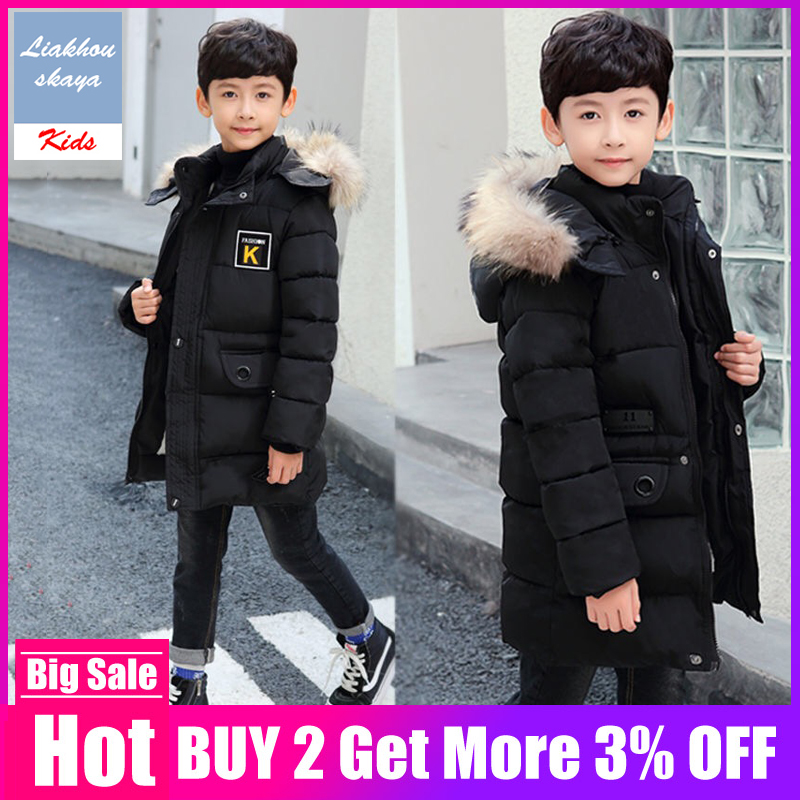 Children's Winter Jacket 2019 Boys Fur Coat Parkas Teenage 5 to 15 years Child Outerwear Casual Hooded Warm Coat Baby Clothing(China)