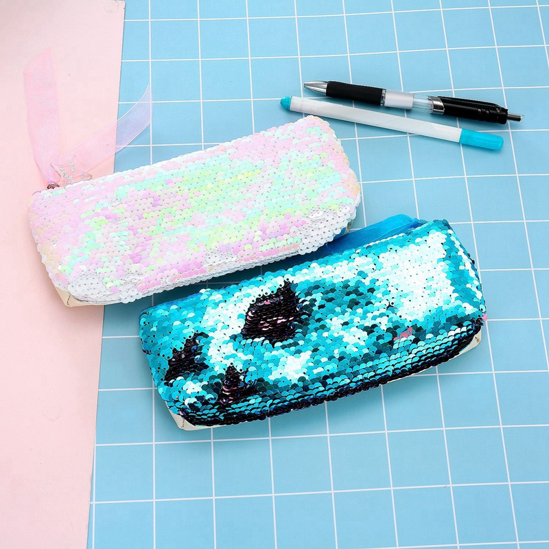 Summer Women Cosmetic Bag Fashion Sequins Female Makeup Pouch Pencil Case Student Pencil Bags School in Pencil Bags from Office School Supplies