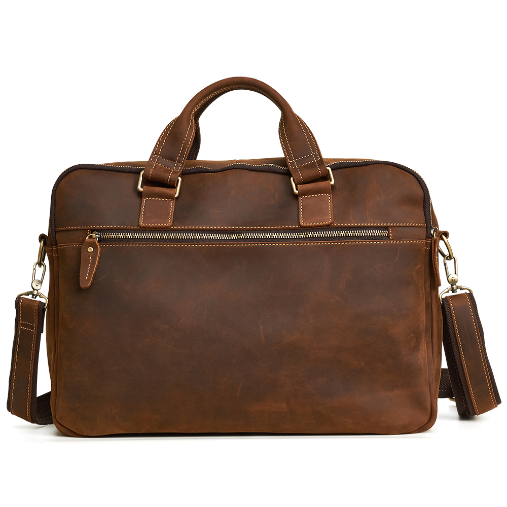 JOYIR Men Briefcase Real Crazy Horse Leather Messenger 15