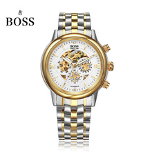 BOSS Germany watches men luxury brand skeleton Malibu series three hollow automatic mechanical watch golden relogio masculino