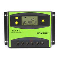 FOXSUR LCD Solar Charge Controller 60A PWM 12V 24V Auto Solar Panel Charging Discharge Regulator, Parameter Adjustable