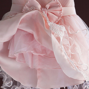 Image 5 - Brand New Baby Girl Dresses Pink White Pearl Bow Party Pageant Dress Little Kids Children Dress for Party Wedding Size 6M 4T
