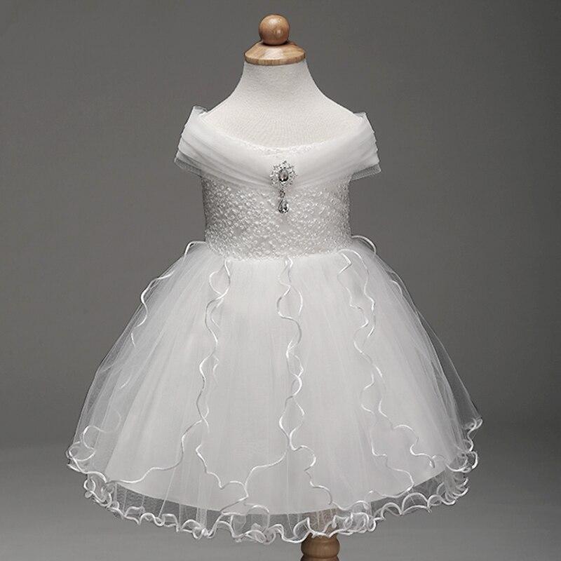 Retail 2018 New Arrival Summer Children Dress Flower Girl Dress For Wedding Pure White Dress Evening Dress PartysLM8807