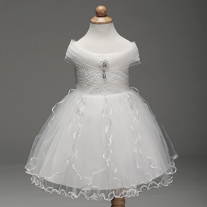 Retail 2019 New Arrival Summer Children   Dress     Flower     Girl     Dress   For Wedding Pure White   Dress   Evening   Dress   PartysLM8807