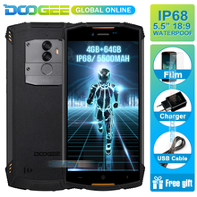 Hızlı kargo DOOGEE üzerinde S55 5.5 inç 18:9 IP68 Waterpoof Toz Geçirmez Akıllı Telefon MTK6750T 5500 mAh 4 GB 64 GB Cep telefon...