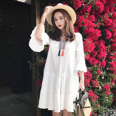 Maternity Dress White Long Sleeves