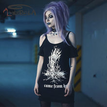 Imily Bela Gothic Off Shoulder T Shirt Women Black Short Sleeve Hollow Out Casual Printed Tshirt Spaghetti Strap t-shirt Tops