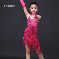 Girls Dance Latin Dresses Kids Dance Costumes Ballroom Dance Competition Dresses Children Cha Cha Samba Rumba