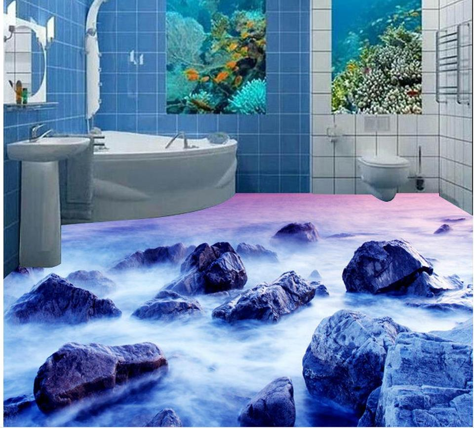 9d badezimmer tapete wasserdicht Riff bad boden 9d boden malerei