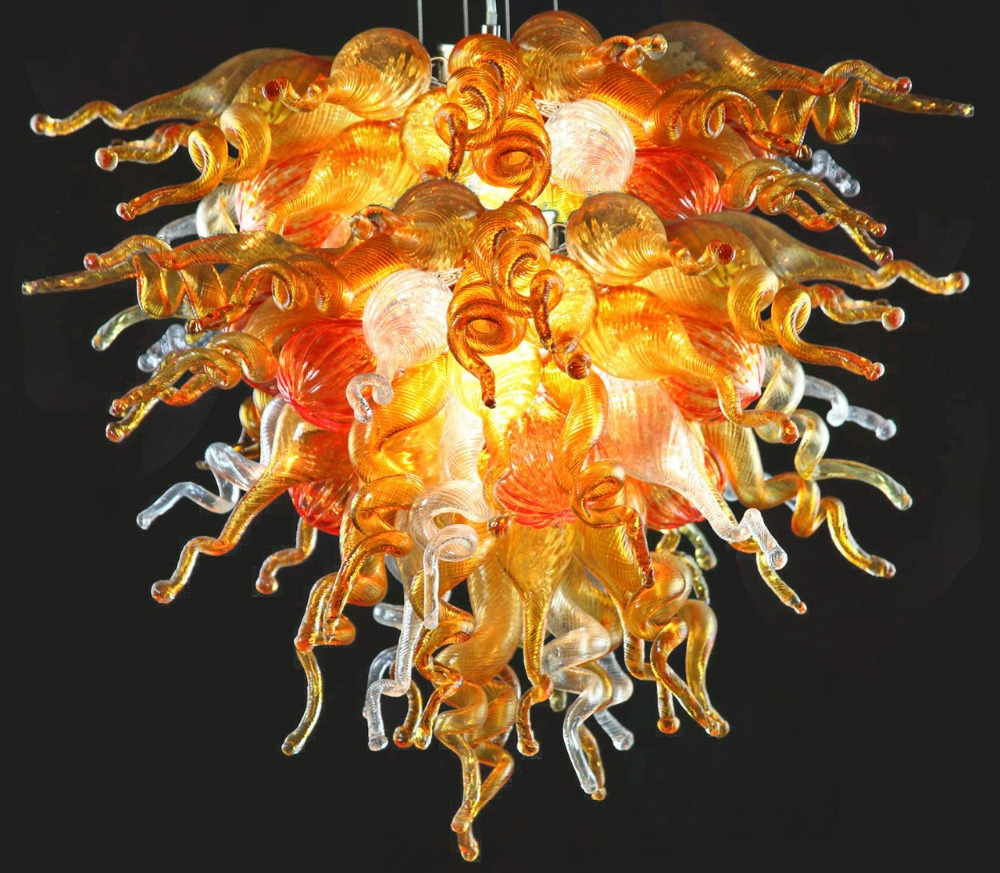 Brilliant Tropical Golden Color Italy Design Flush Mounted LED blown glass Pendant light Fixture dale chihuly murano glass handmade blown chandelier italy design hotel decor led chandeliers