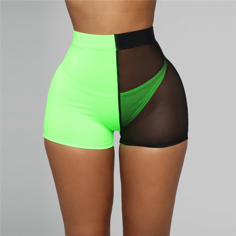 Women Summer Hot Casual Shortpants Sexy Mesh Color Matching Patchwork Slim Casual Hotpants Clubwear   Shorts