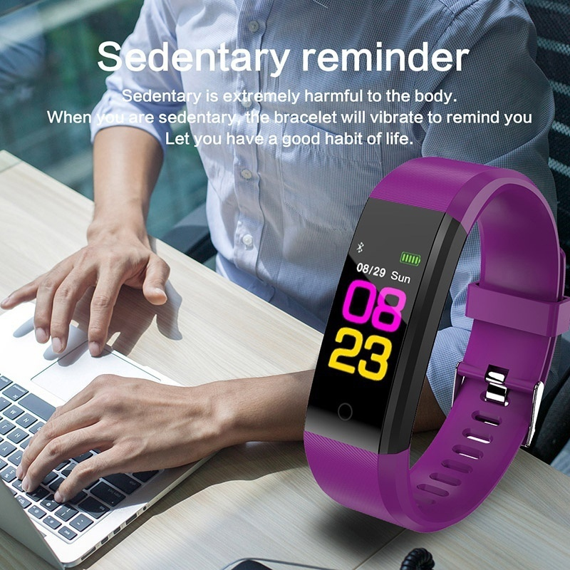 Waterproof Smart Bracelet Watch 115 Plus Blood Pressure Monitoring Heart Rate Monitoring Smart Wristband Fitness Band B1 in Smart Wristbands from Consumer Electronics