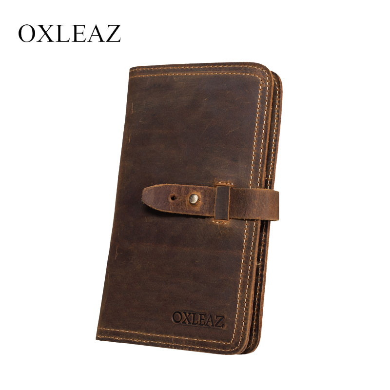 OXLEAZ Crazy Horse Genuine Leather Travel Passport Cover Wallet Business Credit Card Holder Long Wallet for Man with Coin Pocket