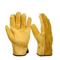 Leather two layer labor insurance full leather gloves five fingers wear resistant anti skid garden safety equipment