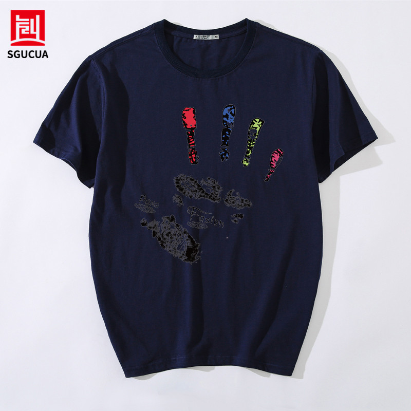 Cotton round neck Loose Tshirt men Bottoming shirt Camiseta mens blouse in Spring and Summer Colorful Palm Printed hip hop tee