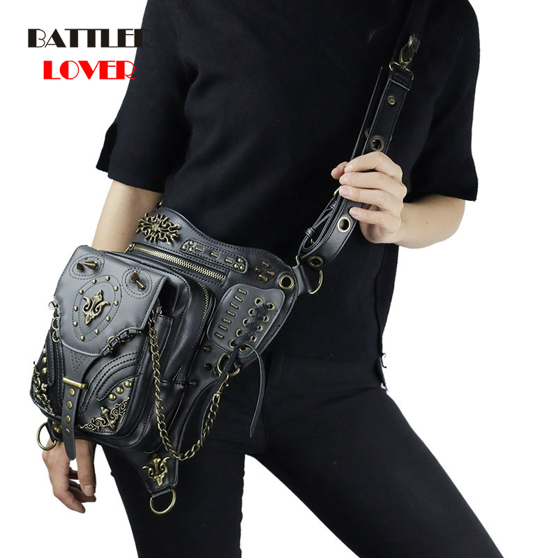 Steampunk Leather Men Thigh Drop Leg Bag Punk Rivet Motorcycle Women Messenger Bags Shoulder Crossbody Bag Waist Fanny Packs