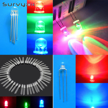 50PCS LED light 3mm 5mm 3pin Dual colour Red-Blue/Red-Green Clear Common Anode/Cathode 20pcs 0 56inches 7 segment 2 digital led display super red common cathode
