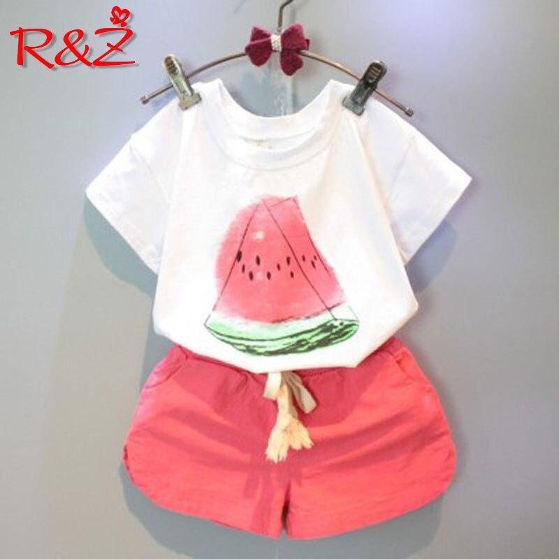 R&Z Children's suit 2018 Summer New Children's Casual Short Sleeve Cartoon Watermelon T-Shirt Shorts Two-piece Girl Set