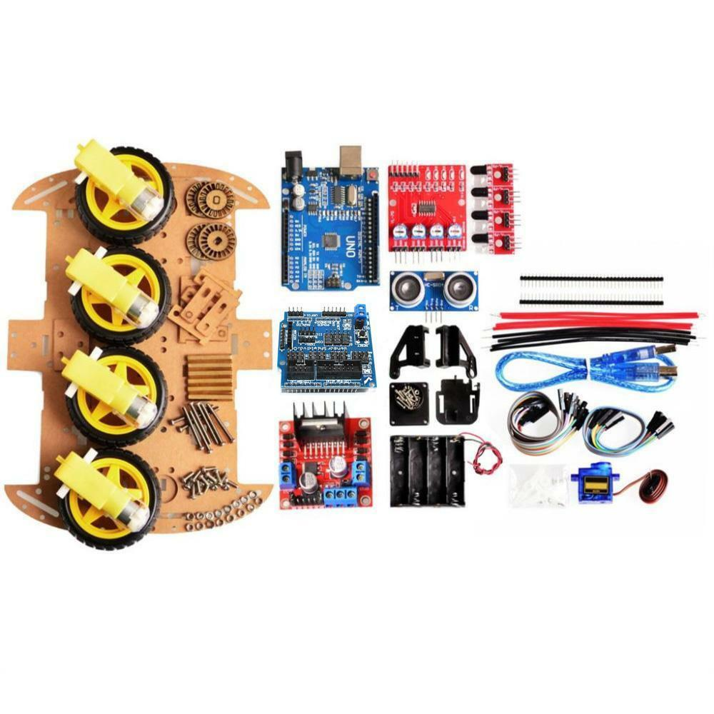 Tracking Motor Robot Chassis Smart Car Kit 4WD Ultrasonic For Arduino Easy Start/stop Modules Accessory Durable