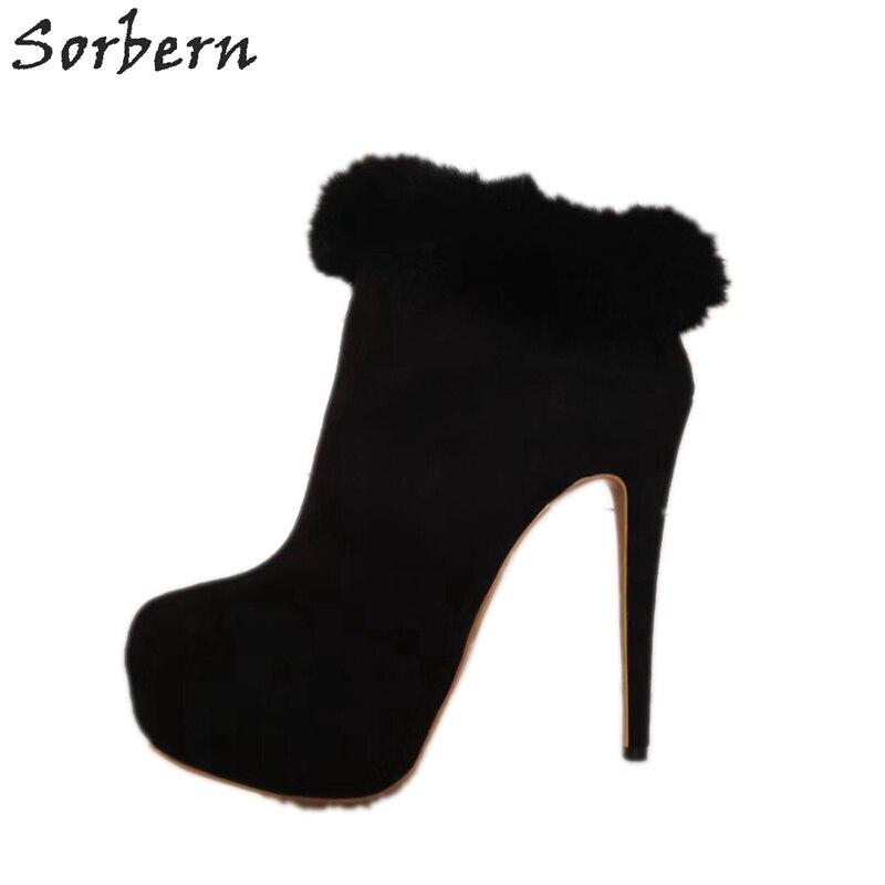 Sorbern Womens Short Boots Size 9 Black Furs Ankles Short Dress Boots For Women Spike High Heel Platform Heeled Boot Short Women